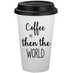 Coffee and Then the World 16oz Travel Coffee Cup Personalized Coffee... ($12) ❤ liked on Polyvore featuring home, kitchen & dining, drinkware, drink & barware, home & living, silver, tumblers & water glasses, personalized coffee cups, personalized tumblers and personalized coffee tumblers