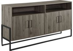 Wetherby Gray 58 in. Flat Screen Tv Stand, Home Design Living Room, Console, Modern Media Console, Tv Stand Console, Farmhouse Tv Stand, Small Space Living, Adjustable Shelving, Large Cabinet