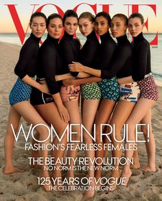 Liu Wen (in a Prada turtleneck and Miu Miu shorts), Ashley Graham, Kendall Jenner, Gigi Hadid, Imaan Hammam, Adwoa Aboah, and Vittoria Ceretti (all wearing Prada). Photographed by Inez and Vinoodh, Vogue, March 2017.