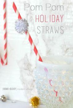 Make these fun + festive Pom Pom Holiday Straws | homeologymodernvintage.com