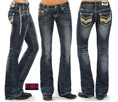 Rock & Roll Cowgirl® ladies' low rise medium wash boot cut jeans have leather studded faux flaps on the back pocket, curved coin pocket with stud detail, ivory and khaki heavy top stitch, antique rose hardware, ivory leather waistband label, and zip fly. 98% cotton/2% spandex.