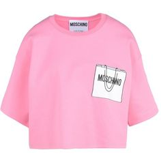Moschino Short Sleeve T-Shirts (18,350 PHP) ❤ liked on Polyvore featuring tops, t-shirts, shirts, tees, crop, pink, t shirts, pink short sleeve shirt, moschino t shirt and short sleeve crop top