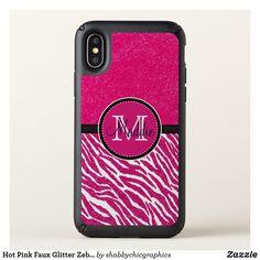 Hot Pink Faux Glitter Zebra  Monogrammed Case #Iphone X #pinkzebra #glitter #girly# Zazzle #monogram #personalized# glitter