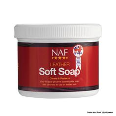 Natural Animal Feeds Leather Soft Soap Easy to apply glycerine based saddle soap with citronella For use on leather tack to clean and protect 450 GM.