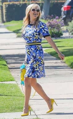 Reese Witherspoon from The Big Picture: Today's Hot Photos  Spring in her step! The actress dresses bright in one of her own Draper James designed dresses during a sunny day in L.A.