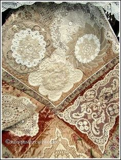 Suziqu's Threadworks: Lace velvet and doiley quilt Fabric and Paper Collage silk organza chiffon doilies vintage lace pearls guipure lace Crazy Quilting, Crazy Quilt Blocks, Hand Quilting, Antique Lace, Vintage Lace, Vintage Sewing, Vintage Velvet, Vintage Buttons, Vintage Pink
