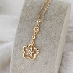 45.5cm 18K Gold Plated Fashion Two Flower Shape Inlay Zircon Pendant Copper Necklace