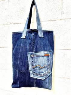 IMG_2808 Denim Tote Bags, Denim Crafts, Dungarees, Large Bags, Refashion, Upcycle, Reusable Tote Bags, Jeans, Casual