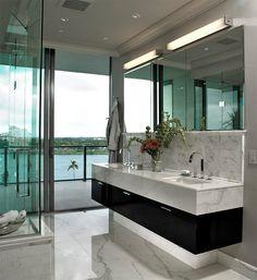 25 banheiros com mármore para você se inspirar - limaonagua