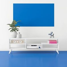 Latitude Run® Connie-Agnes TV Stand | Wayfair Cubby Shelves, Open Shelving, Sliding Panels, Panel Doors, Floating Entertainment Center, Entertainment Centers, Modern Tv Wall, Condo Decorating, White Stain