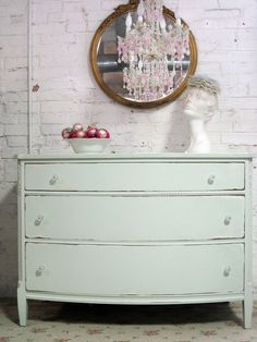 Vintage Painted Cottage Chic Shabby Green Dresser