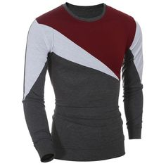 14.79$  Buy here - http://diyj4.justgood.pw/go.php?t=178132805 - Casual Long Sleeves Color Block T-Shirt For Men