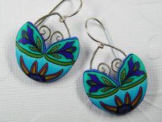 Sun Rising Millefiori Flower Dangle Earrings. $39.00, via Etsy.