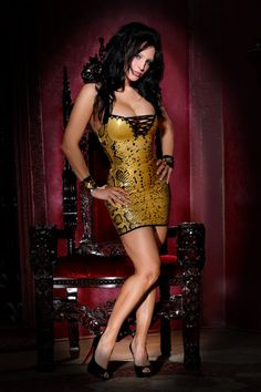 Metallic gold snake print latex dress with lace up front detail by VEnus Prototype
