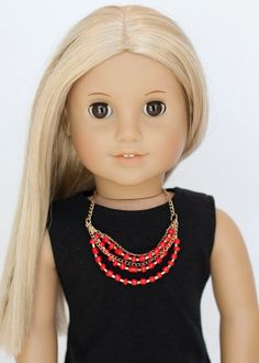 American Girl doll statement necklace  red by EverydayDollwear, $4.00