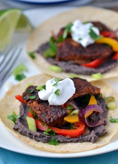 Sweet  Smoky Tempeh Fajitas (with Black Bean-Lime Dip)
