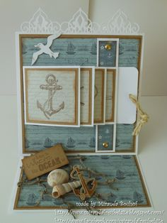nautical waterfall easel card by Miranda Bouhof Hand Made Greeting Cards, Greeting Cards Handmade, Fancy Fold Cards, Folded Cards, Scrapbook Cards, Scrapbooking, Tarjetas Pop Up, Waterfall Cards, Nautical Cards