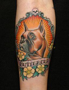 Buttercup box dog tattoo design idea inspiration