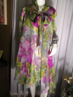 1960's Ladies Floral Sheer Chiffon COAT/DRESS by by Jellajeans
