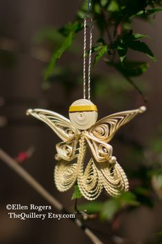 Quilled Cream and Gold Angel Christmas Ornament or Decoration by TheQuillery on Etsy