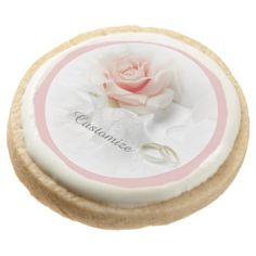 Pink Rose & Wedding Rings Cookies Round Premium Shortbread Cookies
