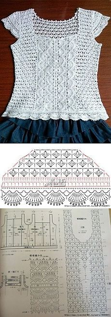 Knitting Patterns Sweter 钩花衣 'Design inspiration for crochet top' Débardeurs Au Crochet, Cardigan Au Crochet, Pull Crochet, Mode Crochet, Crochet Gratis, Crochet Shoes, Crochet Woman, Crochet Chart, Crochet Cardigan