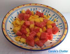 Carole's Chatter: Mango & Watermelon Salad Watermelon Salad, Fruit Salad, Mango, Tasty, Fresh, Healthy, Quotations, Desserts, Recipes