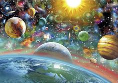 Outer Space is a 1000 piece jigsaw puzzle for adults including earth and our solar system.