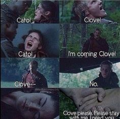 Cato and Clove. This is how it should have happened in the movie. Thanks Gary. This scene is just so sad because it shows how they were scared children that cared for each other. ;'( it was not meant to overlooked as irrelevant.