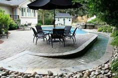 wheelchair accessible back patios pool Ramp Design, House Design, Garden Design, Jacuzzi, Porches, Handicap Accessible Home, Handicap Ramps, Zero Entry Pool, Duplex