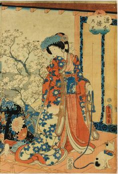 Colour woodblock triptych print entitled Genji Rokujo no hana, depicting a young nobleman and ladies viewing cherry blossom by a lake: Japan, by Utagawa Kunisada, 1854