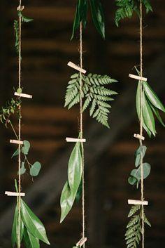 diy deco avec fin et plantes vertes, deco avec feuilles vertes, themes mariage