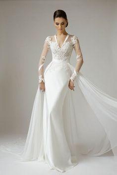 Wunderschöne Vamp Mados Namai Brautkleider 2015 – Be Modish – Modish sein - Mode Paare V Neck Wedding Dress, 2015 Wedding Dresses, Wedding Attire, Bridal Dresses, Wedding Gowns, 2015 Dresses, Gowns 2017, Wedding Dress Detachable Train, Wedding Dressses