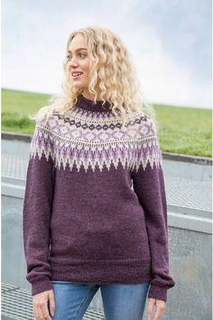 no - dale-dame-rallargenser-rødlilla Girls Sweaters, Romper, Pullover, Knitting, Blog, Dresses, Colour, Store, Fashion