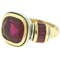 Hemmerle Rubellite Ruby Gold Cocktail Ring   From a unique collection of vintage cocktail rings at https://www.1stdibs.com/jewelry/rings/cocktail-rings/