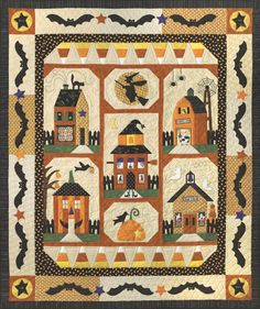 """""""Sew Spooky"""" has five pieced houses each with their own personality. There's a """"Haunted Barn"""" with a spider web windmill! And a schoolhouse called """"Ghoul School""""!! And a house with a roof that's a Witches Hat!!! The easy, strip pieced Candy Corn Border and the fusible web Batty border completes this friendly Halloween quilt."""