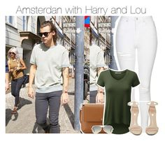 """Amsterdan with Harry and Lou"" by smery09 ❤ liked on Polyvore featuring Topshop, Tory Burch, Jeffrey Campbell and Ray-Ban"