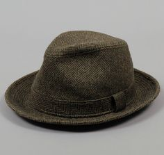 """Magee"" Hat, Green Wool Herringbone"
