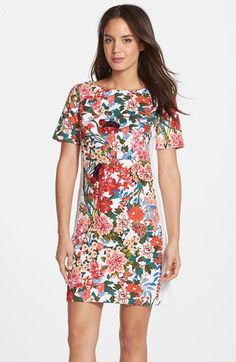 Adrianna+Papell+Floral+Print+Stretch+Cotton+Shift+Dress+available+at+#Nordstrom