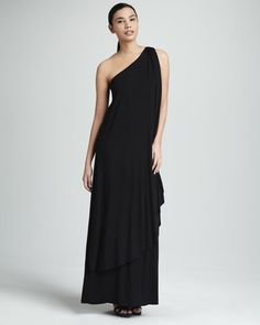 Rachel Pally Ophelia One-Shoulder Maxi Dress, Black