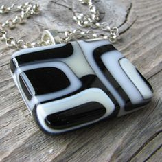 Black/White/Ivory Abstract Pendant. Fused Glass Jewelry by Lindsay Field available here: www.lindsay-designs.net