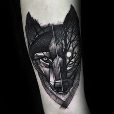 Night Forest Geometric Wolf Arm Tattoos For Guys