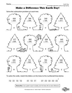 Earth Day Worksheet: three-digit addition without regrouping