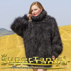 Black hand knitted mohair turtleneck fuzzy sweater by SuperTanya