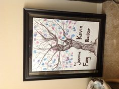 Wedding guests book tree by guest's finger print!  My sister drew the tree!!!
