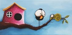 Original acrylic painting modern art canvas whimsical bird house tree chameleon #Modernism