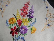 Vintage Beige Linen Tablecloth Hand Embroidered Bright Flowers