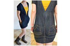 Upside down upcycled jeans/denim dress by OrangeUpcycling on Etsy, reciclar vaqueros convirtiéndolos en vestido Diy Clothing, Sewing Clothes, Dress Sewing, Jean Diy, Artisanats Denim, Denim Skirt, Robe Diy, Diy Kleidung, Diy Vetement