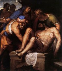 Deposition of Christ. Veronese. 1548-1549.  Oil on canvas. 213 x 173 cm. Private Collection.