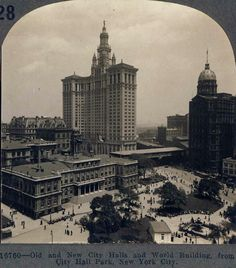 City Hall, the Municipal Building and the World Building on right, early 1900's period. Thanks to Vintage Queensland for sharing this great pic with the page. Old and new City Halls and World Building, from City Hall Park - early 1900s, not sure when.